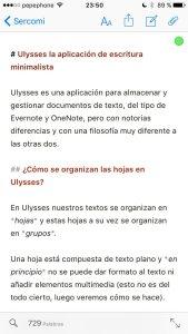 Ulysses en el iPhone
