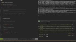 Captura de pantalla de un developer ejecutando diversas tareas de un proyecto con tmux